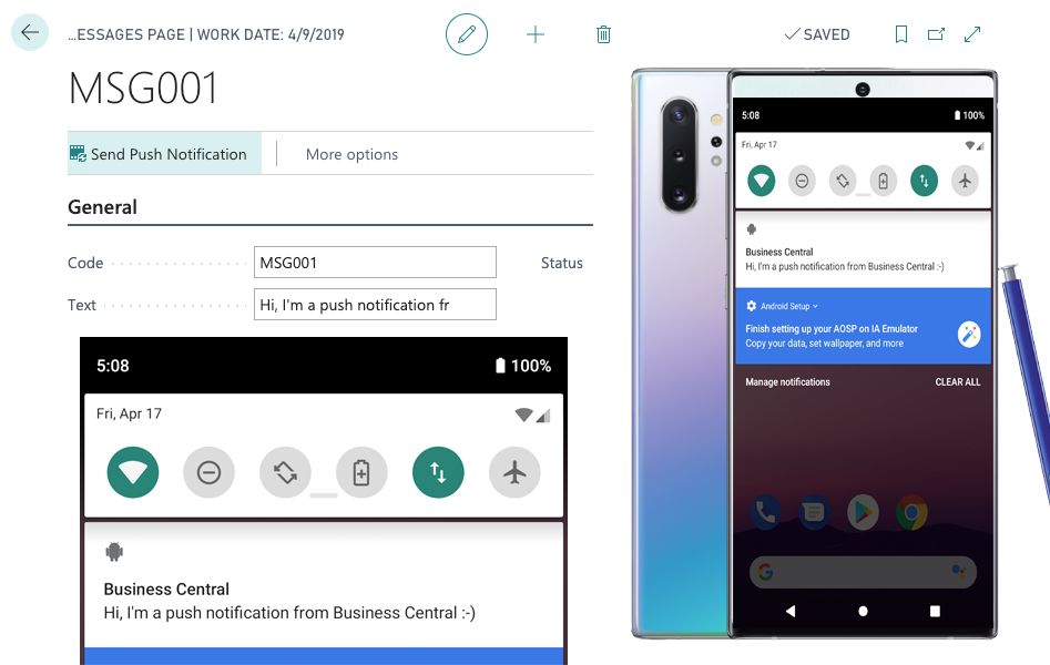Push notifications android emulator